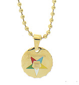 Order of the Eastern Star Round Pendant - Gold Color Steel with OES Symbol Necklace