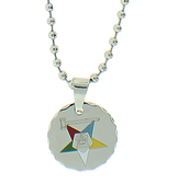 Order of the Eastern Star Round Pendant - Silver Color Steel with OES Symbol Necklace
