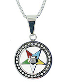 Order of the Eastern Star Necklace Pendant - Silver Color Steel with OES Symbol