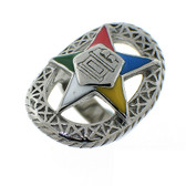 Order of the Eastern Star Ring - Silver Color Webbed Steel Band with OES Symbol. Masonic Jewelry.