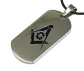 Silver Masonic Dog Tag Smooth Square & Compass Dog Tag Pendant & PVC Chain Necklace