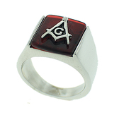 Red Lodge - Freemasons Square and Compass Ring - Steel Masonic Emblem with Red Background