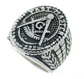 past masters Freemason Ring / Mason's Ring - Past Master Text with antiqued design - Stainless Steel Masonic Jewelry.