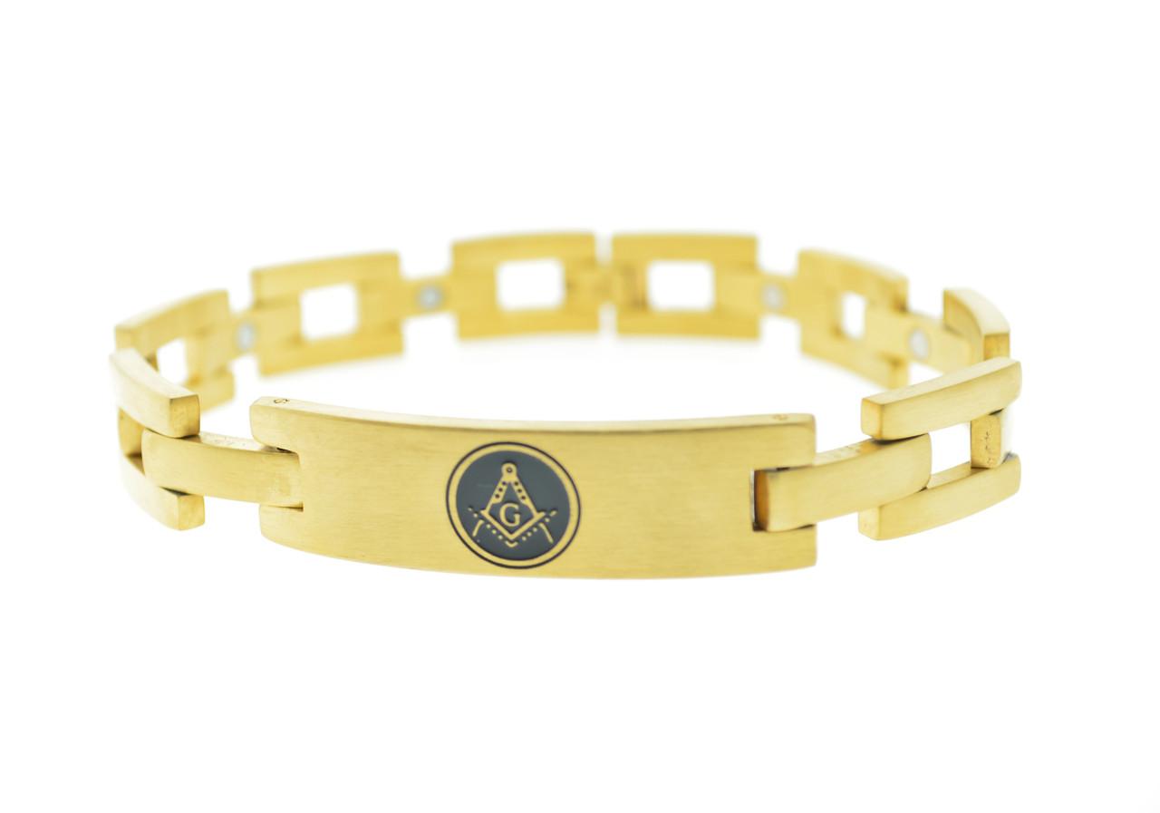 Freemason Bracelet Gold Color Stainless Steel - Square Link Bracelet with  Classic Masonic Symbol
