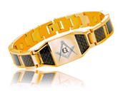 Masonic Bracelet - Gold Plated Steel w/ Black Carbon Fiber Freemason Link Bracelet with Classic Masonic Symbol