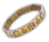 Masonic Bracelets - Gold Color Stainless Steel Across Design Freemason - Link Bracelet with Classic Masonic Symbol