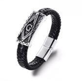 Freemason Bracelet with Magnetic Buckle / Masonic Symbol - Steel and Leather Braided Mason Jewelry
