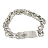 Engravable ID Freemason Bracelet / Stainless Steel Chain Links with Etched Masonic Design in Center