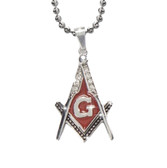 Steel Red Color Stainless Steel Blissful Pendant Masonic Symbol / Free Mason Red Lodge