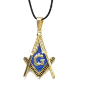 Gold Plated Blue Color Stainless Steel Blissful Pendant Masonic Symbol / Free Mason Blue Lodge