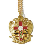 Scottish Rite Pendant with chain. Gold Tone with color enamel. Masonic Symbolism displays Eagle holding Red Cross Rose. Jewelry for Freemasons