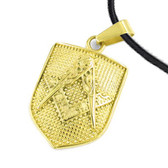 Masonic Pendant - Gold Plated Stainless Steel Mason Shield on Steel Dimpled Bakground - For Freemasons