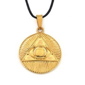 Freemason Pendant - Gold Plated Stainless Steel with Deep Etched Masonic All Seeing Eye Pyramid Symbol