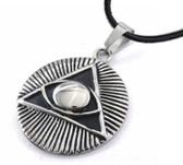 Freemason Pendant - Stainless Steel with Deep Etched Masonic All Seeing Eye Pyramid Symbol