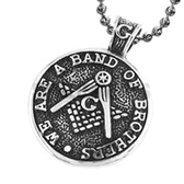 Traditional Style Freemason Pendant / Masonic Necklace - Stainless Steel - We Are a Band of Brothers