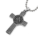 Celtic Cross Style Freemason Pendant / Masonic Necklace - Stainless Steel - We Are a Band of Brothers