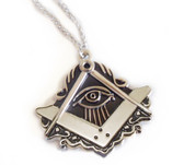 Large Masonic All-Seeing Eye Cut Out Shaped Shiny Alloy Pendant Compass and Square Design with chain