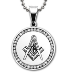 Imitation Rhodium Plated Finish Stainless Steel Masonic Freemason Pendant Medal Charm with CZ rim and Square and Compass includes Chain Necklace