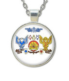 Scottish Rite Masonic Glass Necklace Pendant - Double Scottish Rite Eagles Freemason Symbol / For Free Masons
