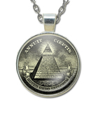 Masonic Glass Necklace Pendant with Masonic Symbol found on U.S. Dollars / Free Mason