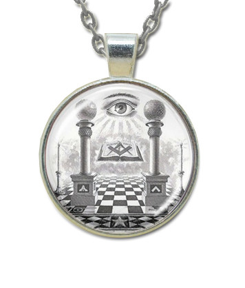fd006220af354 Masonic Glass Necklace - Eye of Providence and Pillars Pendant with Masonic  Symbols / Free Mason