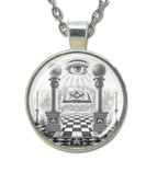 Masonic Glass Necklace - Eye of Providence and Pillars Pendant with Masonic Symbols / Free Mason