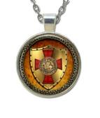 Masonic Glass Necklace Pendant Knights of Templar Glowing Shield Freemason Symbol / For Free Masons