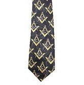 Masonic Neck Tie - Black and Yellow Polyester long tie with duplicated Masonic pattern design for Freemasons.