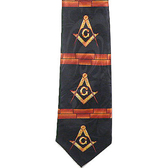 Masonic Neck Tie - Black Background Polyester long tie with bricks between Square and Compass design Masonic pattern design for Freemasons Formal Wear Attire