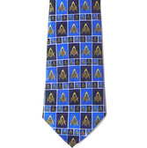Masonic Regalia - Neck Tie - Blue Polyester long tie with square and rectangle boxed Masonic pattern design for Freemason formal wear
