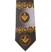 Freemason's Tie - Black and Gray Polyester long necktie with swirl flowing Masonic pattern design Masonic clothing and regalia
