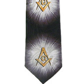 Masonic Regalia - Tie for Free Mason Suit Formal Attire - Black and Gold Polyester long necktie with Bursts of Light Masonic pattern design - Masonry Apparel Neckwear