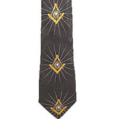 Masonic Regalia - Necktie for Freemason Lodge Attire - Black and Gold Polyester long tie. Rays of Light Masonic pattern design. Masonry Clothing Formal Suit