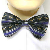 Bow Tie for Freemasons Lodge Attire - Pre-tied Black bow tie with Gold Masonry Symbols and Striped Pattern Design - Regalia Masonic Clothing Formal Suit or Tuxedo