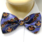 Masonic Bow Tie Neckwear - Pre-tied Blue bow tie with Masonry symbol in Gold Round and Pattern Design - Regalia Freemason Formal wear Suit or Tuxedo