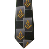 Masonic Neck Tie - Black and Gray Polyester long tie with large diagonally stacked card pattern Masonic Emblem design for Freemasons