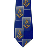 Masonic Neck Tie - Navy Blue Polyester long tie with large diagonally stacked card pattern Masonic Emblem design for Freemasons