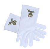 Masonic Shriner Symbol Cotton Gloves - White (One Size Fits Most) For Freemasons. Masonic Formal Wear Regalia and Accessories.