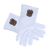 Masonic Scottish Rite 32nd Degree Wings Down Cotton Gloves - White (One Size Fits Most) For Freemasons. Masonic Formal Wear Regalia and Accessories.