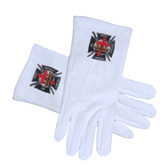 Masonic The Knights Of Templar Cotton Gloves - White (One Size Fits Most) For Freemasons. Masonic Regalia Formal Wear Clothing.