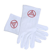 Masonic Royal Arch - York Rite Triple Tau Red Symbol on Cotton Gloves - White (One Size Fits Most) For Freemasons. Freemason Regalia Formal Wear Clothing.