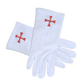 Masonic Order of the Red Cross Symbol Gloves Cotton - Knights Of Templar (One Size Fits Most) Formal Freemason Gloves. Masonic Regalia Clothing and Formal Attire.