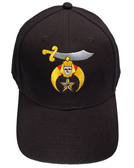 Shriner's Masonic Baseball Cap - Black Hat with Standard Shriners Freemason Symbol - One Size Fits Most. Freemason Clothing, Apparel and Merchandise