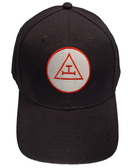 Royal Arch Masonic Baseball Cap - Black Hat with Royal Arch Triple Tau Freemasons Symbol - One Size Fits Most Adults