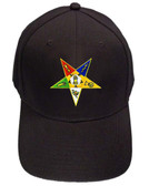 Order of the Eastern Star - Black Baseball Cap with Colorful Standard OES Symbol - Hat One Size Fits Most Adults