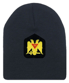 Masons Winter Hat - Standard Scottish Rite Wings DOWN - Masonic Black Beanie Cap with 32nd degree Symbol - One Size Fits Most Cap for Freemasons