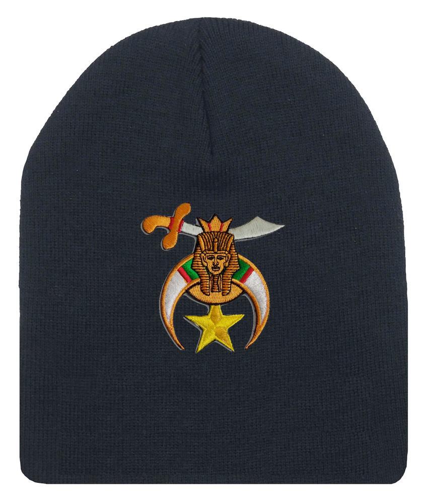 e0d8ded875 Shriner's Masonic Winter Hat - Black Beanie Cap with Standard ...