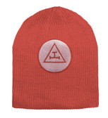 Royal Arch Masonic Beanie Cap - Red  Winter Hat with Triple Tau Royal Arch Freemasons Symbol - One Size Fits Most Adults. Freemason Clothing, Apparel and Merchandise.
