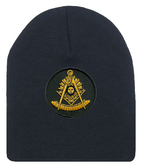 Freemason's Cap Winter  - Black Beanie Hat with Golden Past Master Masonic Symbol - One Size Fits Most Adults. Freemason Merchandise, Clothing and Apparel.