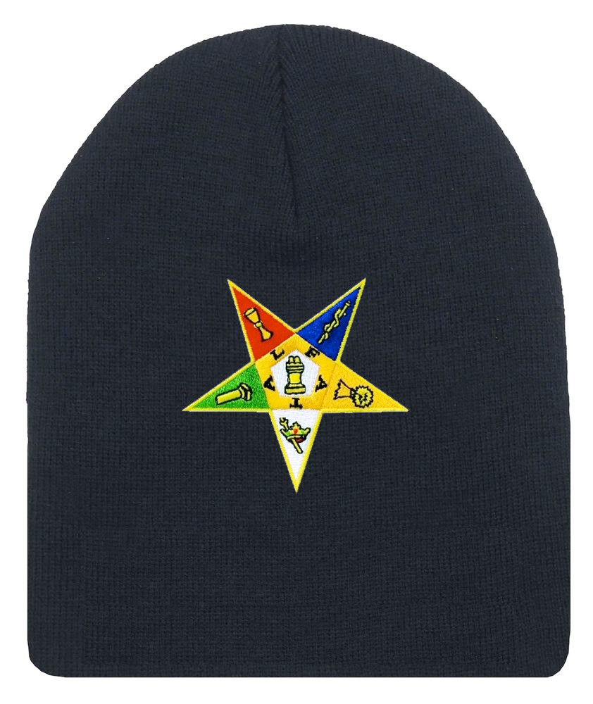 Order of the Eastern Star - Black Beanie Cap with Colorful Standard OES  Symbol - Hat One Size Fits Most Adults. Freemason Merchandise. - Mason Zone e4b05c0c29a